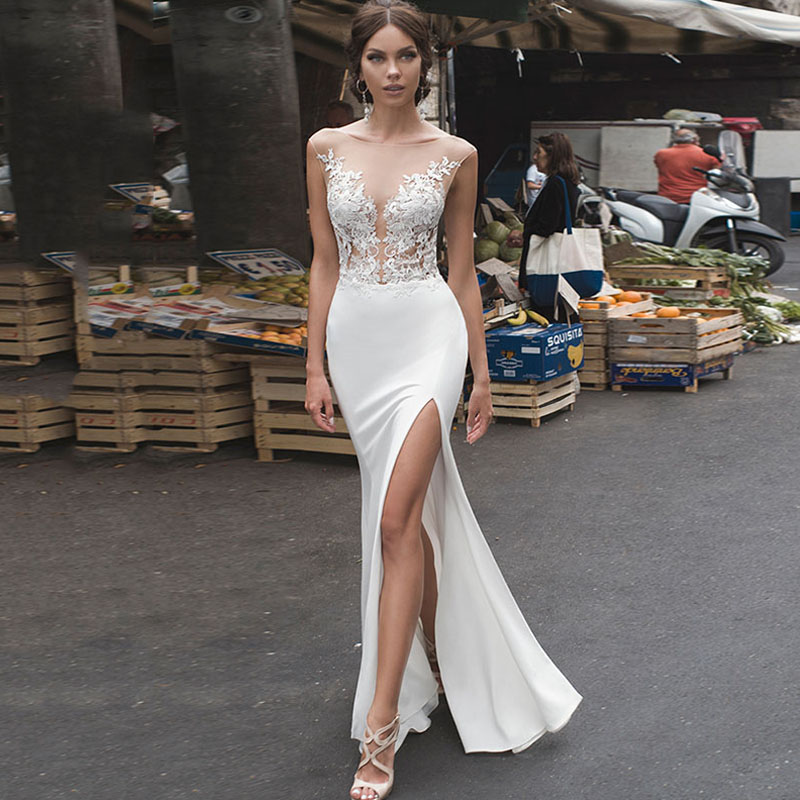 Eightree Appliques Mermaid Wedding Dress Slit Beach Wedding Dresses Boho Sleeveless Vestido De Noiva Backless Wedding Gowns