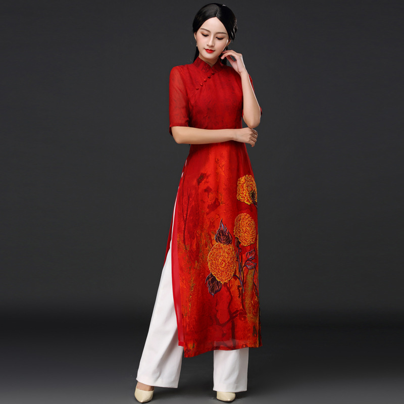 2020 Vintage Cheongsam Vietnam Aodai Long Elegant Robe+pants Suit Female Two Piece Sets Ao Dai Chinese Sets Oriental Clothes