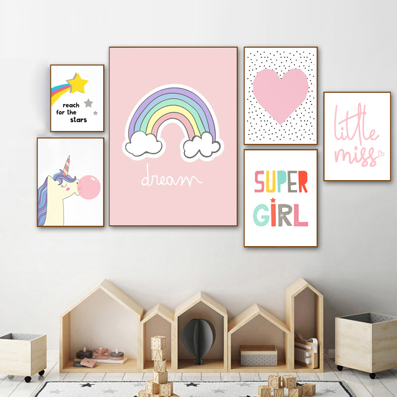 Unicorn Bubble Colorful Nursery Wall Art Canvas Poster Nordic Super Girl Quote Print Painting Kid Bedroom Decoration Picture