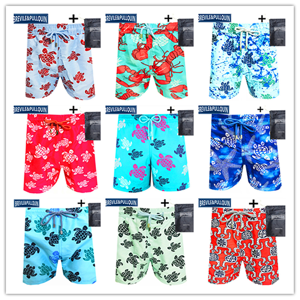 Spring Summer Bermuda Boardshorts 2020 Brand Brevile Pullquin Beach Board Shorts Men Turtles Sexy Swimtrunks M-XXXL + Gifts Bag