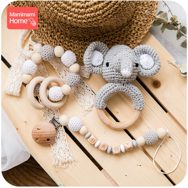 Baby Wooden Teether Crochet Animal Toys Wooden Blank Rodent Deer  Rattle Pacifier Clip Pendant Silicone Beads Children'S Goods