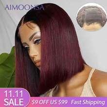 Peluca con cierre de encaje 4x4, peluca con malla frontal color Burdeos 130%, pelucas de cabello humano ombré, pelo rojo liso 1B/99J para mujer Remy