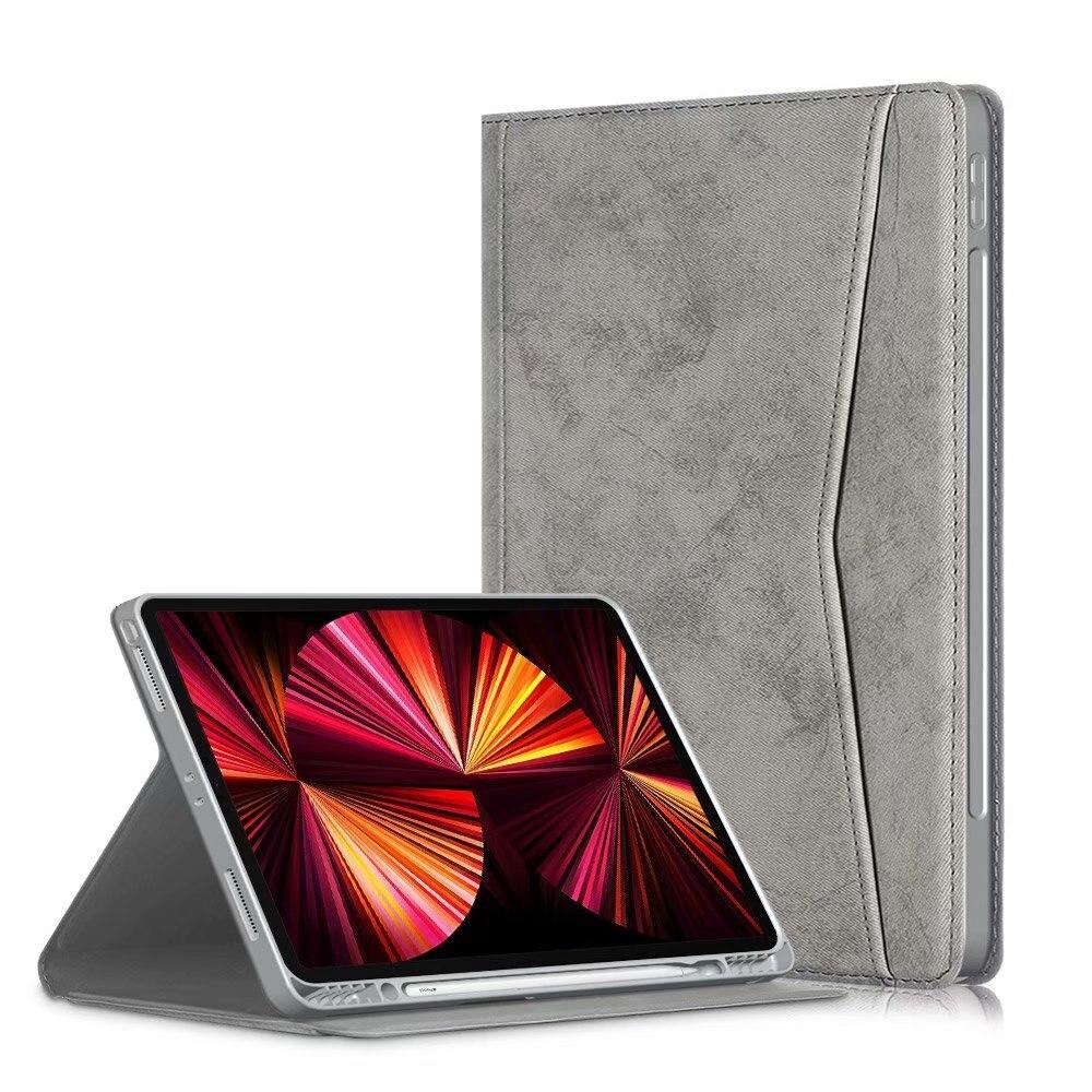 gray Gray Portfolio Case for iPad Pro 11 2021 2020 2018 Multi Angle Viewing Premium Leather Auto Sleep