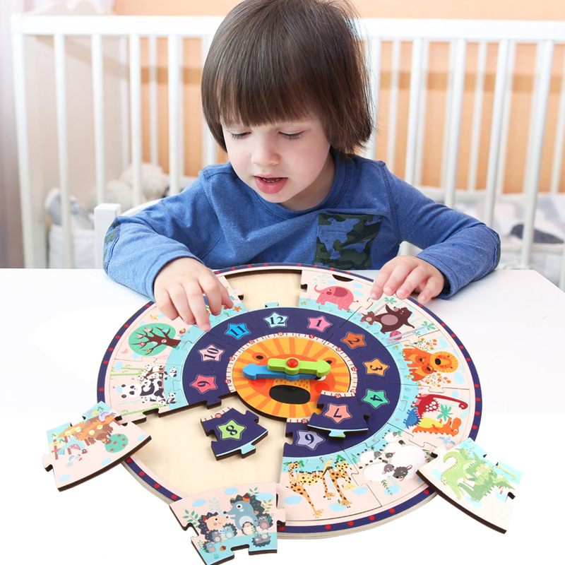 Wooden Toys Montessori Baby cartoon Calendar Clock Time toys Cognition Preschool Educational Teaching Aids Toys For Children