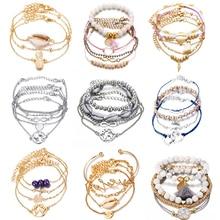 2019 Boho Bracelet Bangle Tortoise Sea Shell Star Moon Bow Map Crystal Bead Bracelet Women Charm Party Beach Jewelry Accessories цена 2017