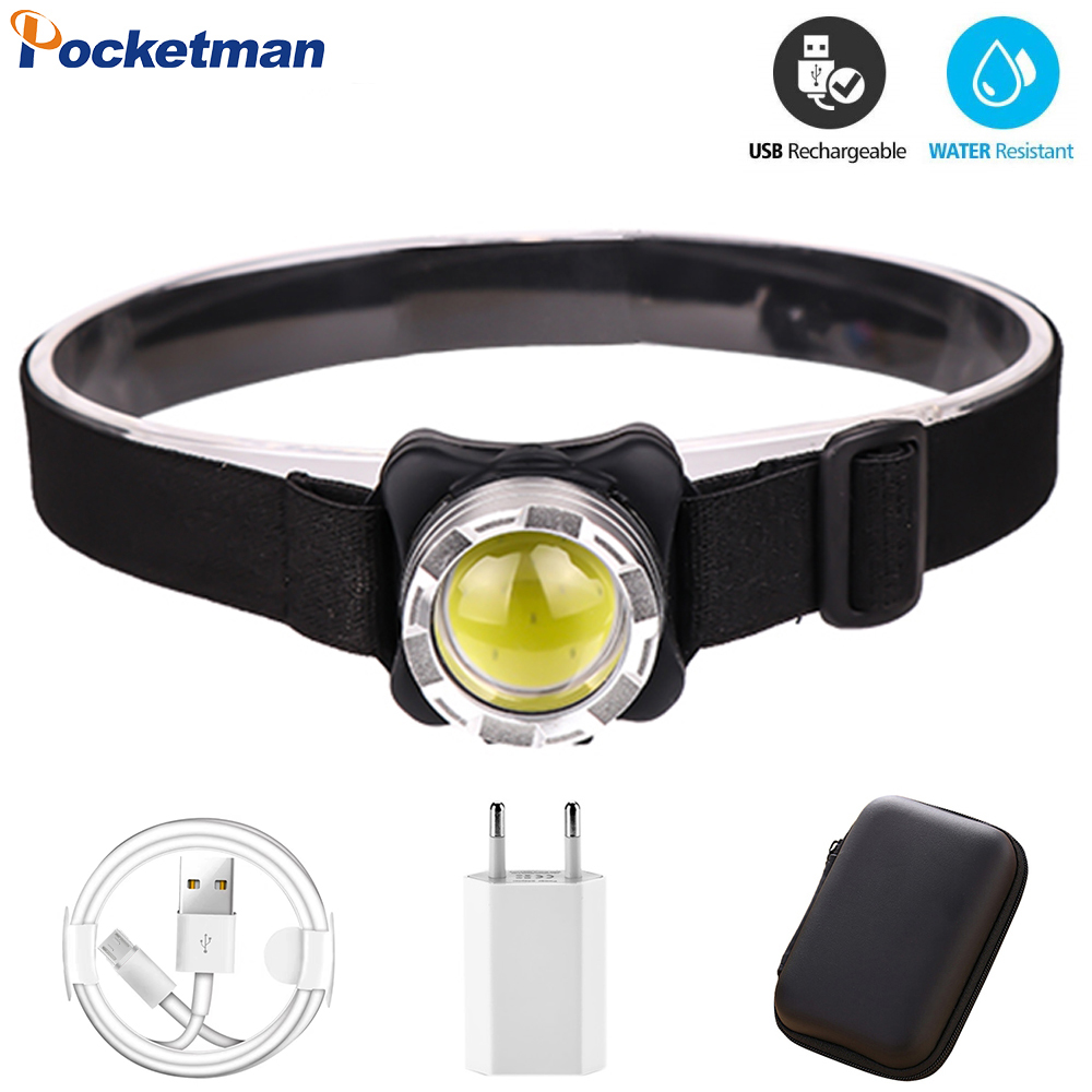 <font><b>3000LM</b></font> COB LED Headlamp USB Rechargeable Headlight Waterproof Head Lamp White Red Lighting with Built-in Battery image