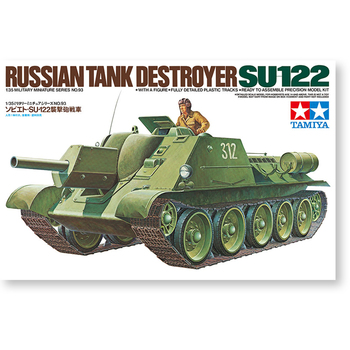 Tamiya 35093 Scale 1/35 Russian Tank Destroyer SU-122 Military Miniature Sereis Display Toy Plastic Assembly Model Kit