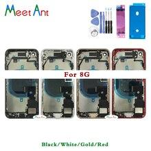 Marco medio trasero de alta calidad para iphone 8, 8G, 8 Plus, ensamblaje completo de carcasa, cubierta de batería, cristal trasero de puerta con Cable flexible
