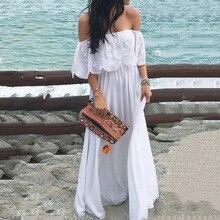 Sexy Off The Shoulder Bohemian Maxi Dresses For Women Slash Neck Summer Beach Elegant Party White Vestidos