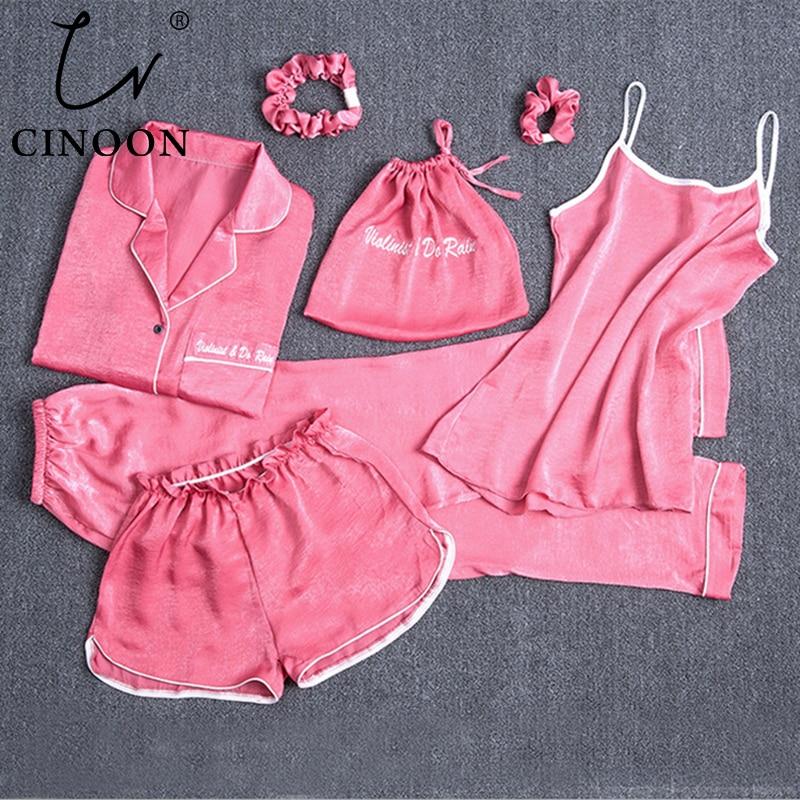 CINOON Women's Sexy Nightwear Sets Female 7 Pieces Pajamas Sets Silk Pyjama Lady Homewear Soft Sweet Sleepwear Sleep Suits