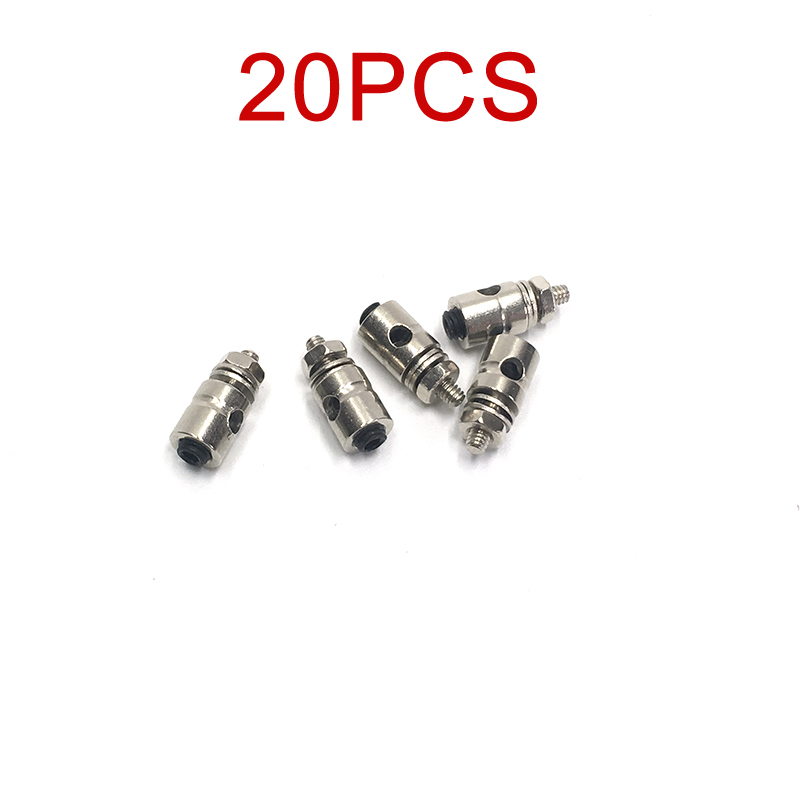 20PCS 2.0mm Metal Pull Rod Quick Adjuster Servo Linkage Stoppers Pushrod Connectors Spare Parts for RC Model Boat Aircraft