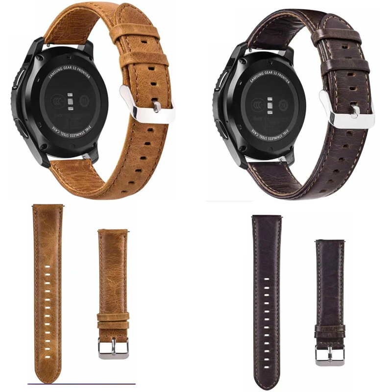 <font><b>Leather</b></font> Band For <font><b>Samsung</b></font> galaxy active 2 42 <font><b>46mm</b></font> Gear S3 s2 Strap Pebble time amazfit 3 2 1 GTR GTS pace bip Bracelet 22mm 20 image