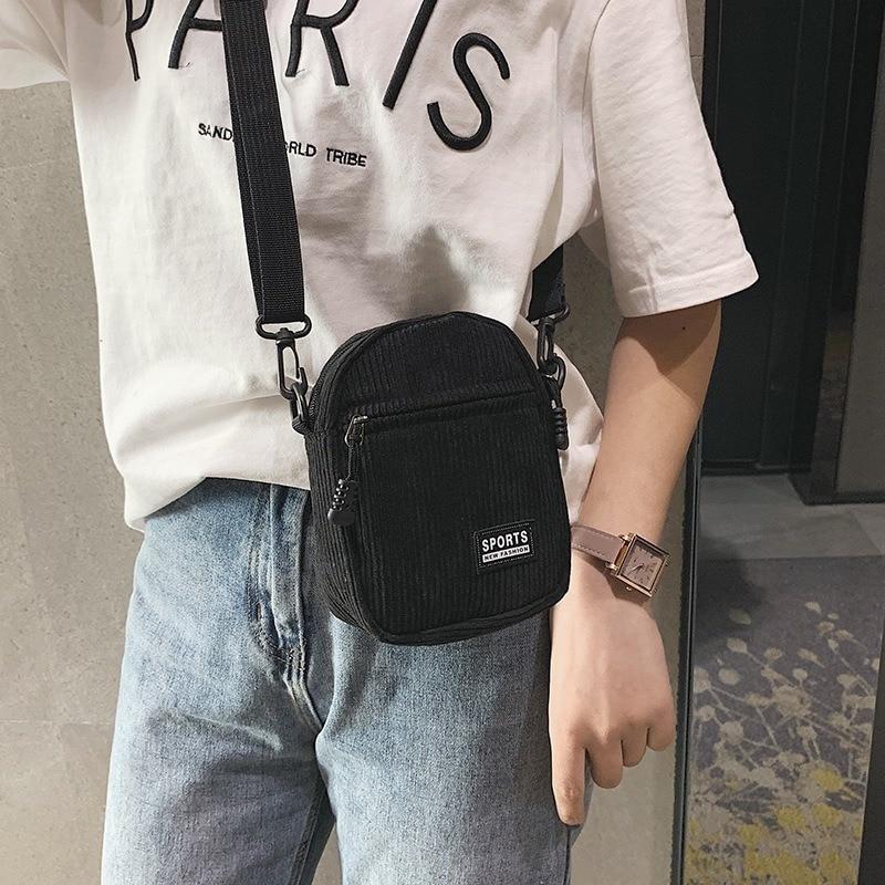 Women Canvas Bag Fashion Mini Cell Phone Bag With Zipper Korean Crossbody Bag For Female Ladies Shoulder Bag Bolsa Feminina