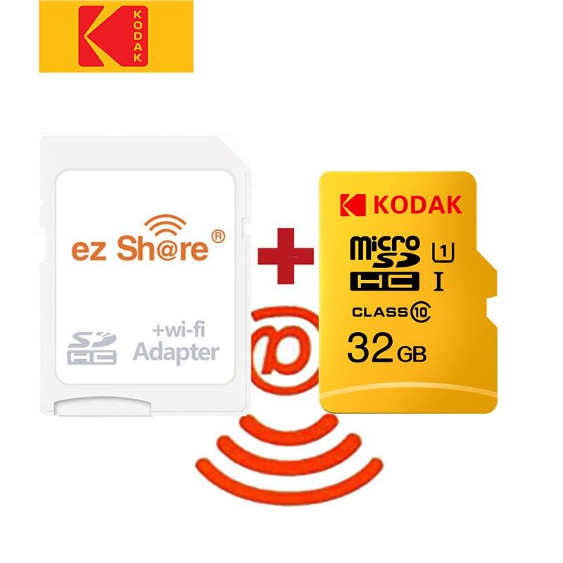 Ezshare adaptador wifi inalámbrico + Kodak tarjeta Micro SD de 16gb 32gb 64gb 128gb class10 microsd wifi inalámbrico tf tarjeta flash tarjeta de memoria