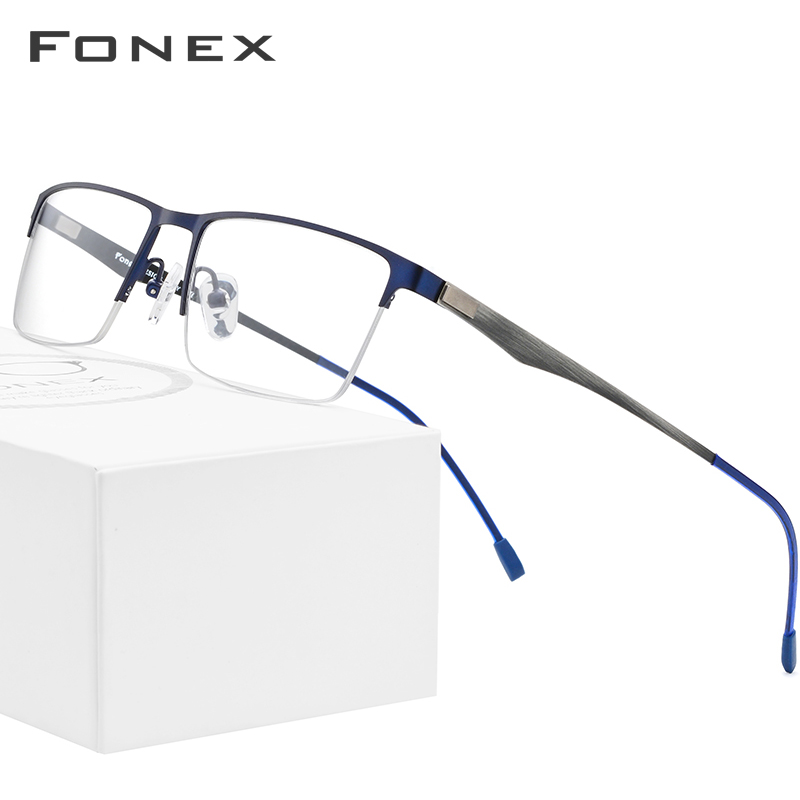 FONEX Alloy Glasses Frame Men Square Myopia Prescription Eyeglasses Male Metal Semi Rimless Optical Frames Screwless Eyewear