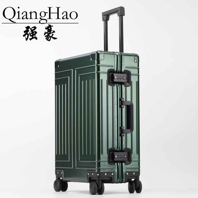 Valise de voyage avec roue en alliage daluminium 100%, valise de marque de qualité supérieure à chariot à bagages à main
