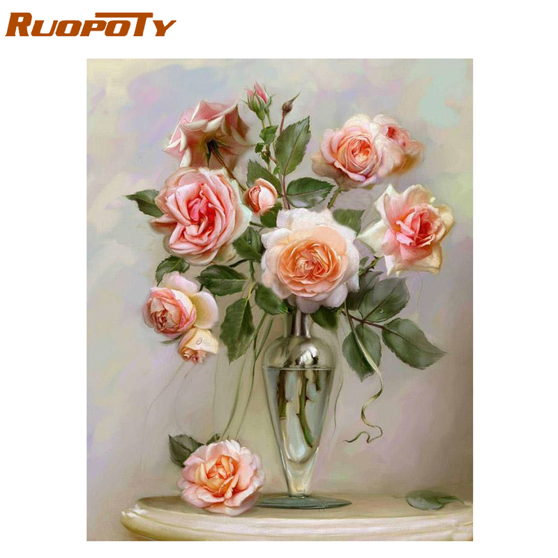 RUOPOTY Frame Pink Flowers Picture By Numbers Kit Modern Wall Art Diy Painting By Numbers Acrylic Canvas For Home Decors Artwork