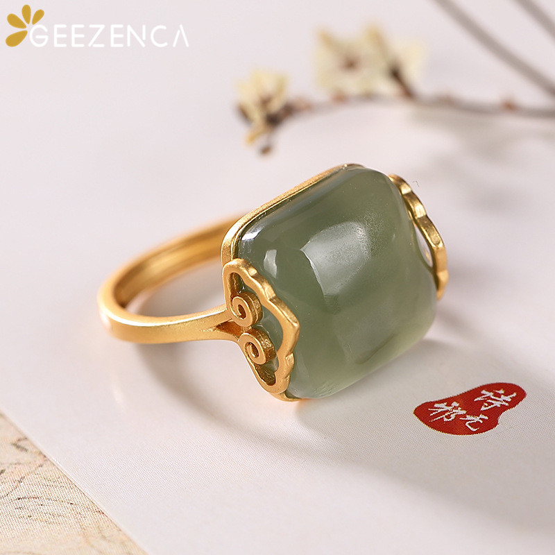Vintage 925 Sterling Silver Gold Plated Green Jade Auspicious Cloud Women's Ring Original Design Simple Gemstone Open Rings Gift