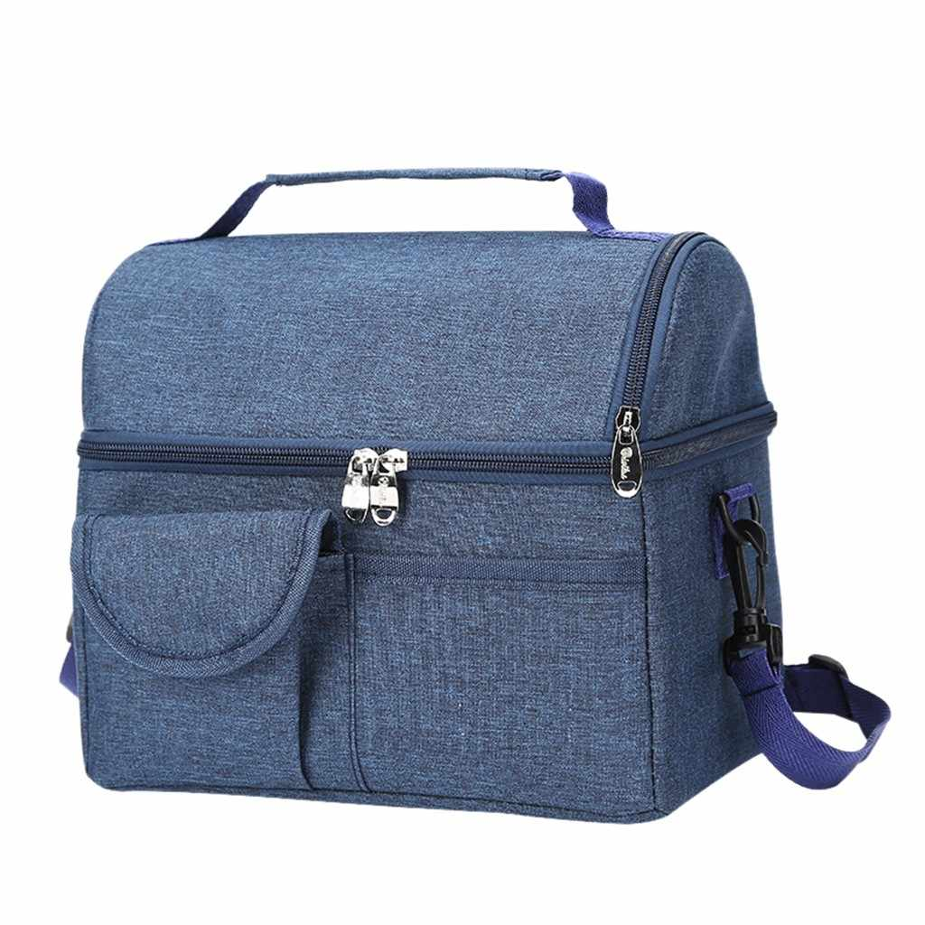 Insulated Lunch Bag Box For Women Men/'s Thermos Cooler Hot Cold Adult Tote Food
