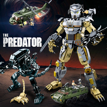 Predator VS. Alien Movie Series Building Blocks Predator Alien Model Action Bricks Figure Toys For Children 18cm neca aliens action figure ricco frost private figure toy with weapon helmet alien vs predator avp model doll
