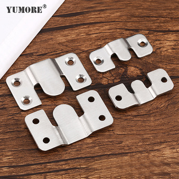 YUMORE 4pcs/lot Heavy Duty Wall Picture Frame Hanger Display Hook Sofa Bed Interlocking Mount Bracket Furniture Connector Screw image