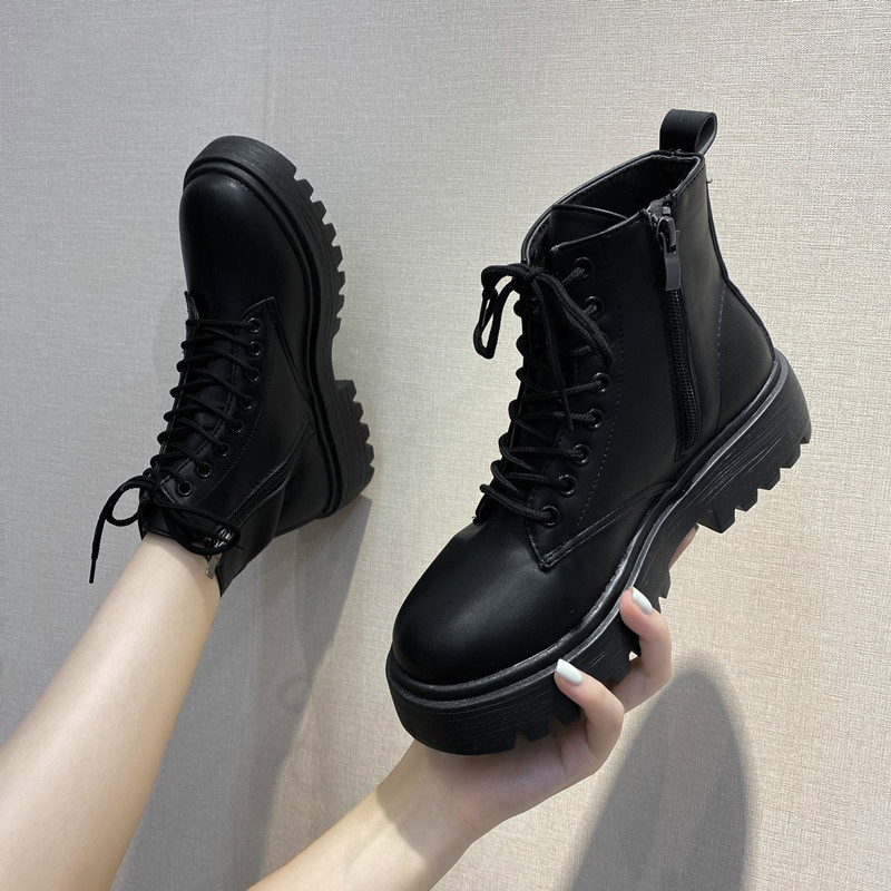 Black Platform Boots Women Boots Winter Leather Martin Boots Lace Up Ankle Boots Motorcycle Thick Heel Platform High Heels