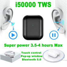 i50000 TWS 1:1 Replica Pop up Separate use Wireless Earhone QI Wireless Charging Earphones PK w1chip i1000 i2000 i9000 tws(China)