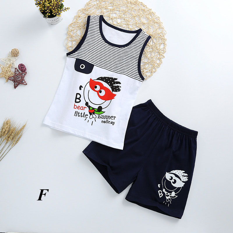 Fashionable Child's Sleepwear Cotton Pajamas Sets For Boy/Girls Cartoon printed Baby Clothes T-shirt+Shorts set kids clothes image