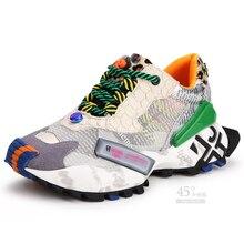 Chaussures de course en maille respirante pour femmes, chaussures de Sport à la mode, semelle épaisse, chaussures dextérieur, athlétiques et couleurs mélangées, espadrilles décontractées