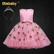 Robe à paillettes fraises pour filles, rose, sans manches, robe princesse de fête de nouvel an, Champagne