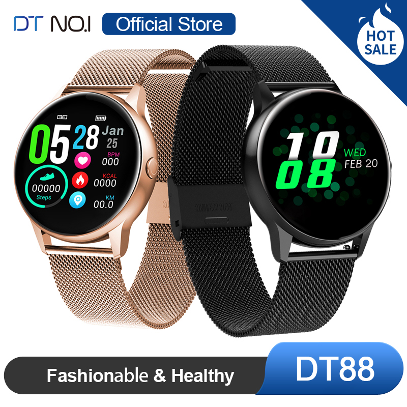 <font><b>DT</b></font> <font><b>NO</b></font>.<font><b>1</b></font> DT88 Smart Watch Round Touch Screen <font><b>Smartwatch</b></font> Heart Rate Intelligent Fitness Tracker Sports Fashion Watch Men Women image