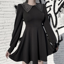 Sailor Collar Black Dress Women Vintage Pleated Evenging Par