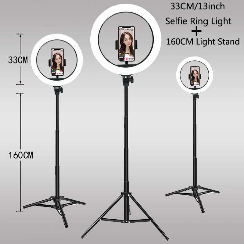 33CM 26CM lumière vidéo Dimmable LED Selfie anneau lumière USB anneau lampe photographie lumière avec trépied support pour faire TikTok Youtube