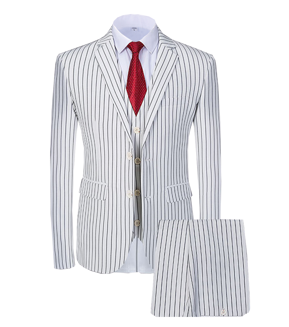 Solovedress 3Pieces Stripes Blazer Vest Notched Lapel Tuxedos Mens Prom Wedding Pinstripes Suit Slim Fit Formal Premium Tailcoat
