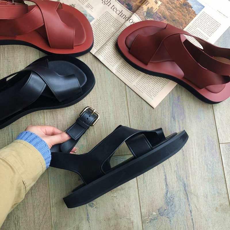 Delle Donne di Alta Strada Casual di Vibrazione Del Cuoio di Cadute di Sandali 2019 Nuovi Pattini di Estate Cinturino Alla Caviglia Della Piattaforma Del Cuoio Sandali Gladiatore Dell'annata