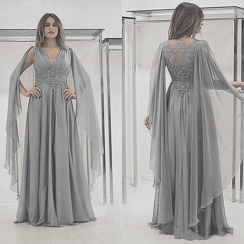 Long Mother Of The Bride Dress With Cape Silver Grey Chiffon Appliqued Lace Formal Evening Prom Gowns Wedding Party Guest