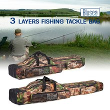 Blusea 120cm/150cm 3 Layers Fishing Bag Portable Folding Fishing Rod Reel Bag Fishing Tackle Carry Bag Travel Storage Case
