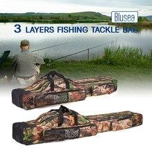 Blusea 120cm/150cm 3 camadas saco de pesca portátil dobrável vara de pesca carretel saco de pesca equipamento de transporte saco de armazenamento de viagem caso