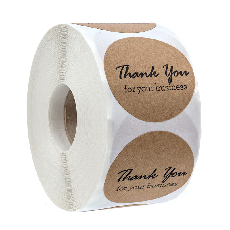 500 Labels Per Roll Round Natural Kraft Thank You Stickers Seal Labels Hand Made With Love Stickers Office Stationery Sticker