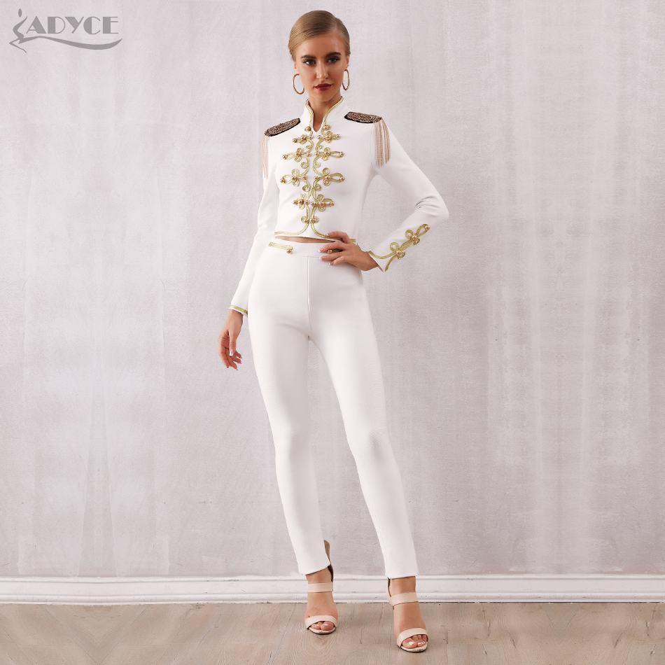 Adyce 2020 New Winter Women Club Bandage Set Black White Tassel Tops&Pant 2 Two Pieces Set Night Out Celebrity Evening Party Set