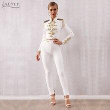 Adyce 2020 nowa zimowa damska koszulka bandaż zestaw czarne białe bluzki z frędzlami i spodnie 2 dwie sztuki zestaw wyjściowa Celebrity wieczór zestaw imprezowy