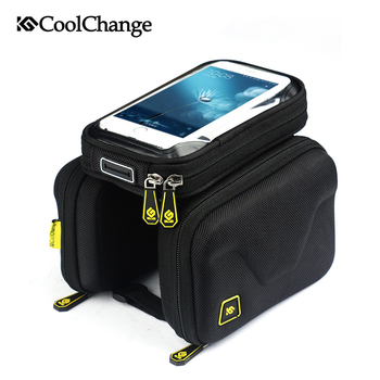 CoolChange Bike Bag  6.2 Inch Touch Screen Bicycle Bag Front Frame Top Cell Phone TPU Cycling Bag Double Pouch MTB Accessory trinx bicycle bag rainproof bike headtube bag cycling top tube bag mtb city bike frame front head cell phone touch screen bag