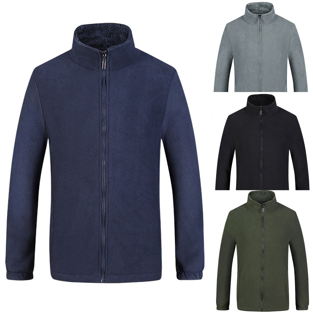 New Men's Casual Plus back Warm up Large Size Polyester Coat Cardigan Jackets Men's Winter Polar Fleece Jacket Men Outwear