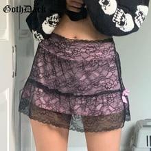 Mini Skirts Mesh Lace Partywear Patchwork 90s Floral Dark-E-Girl Goth Vintage Women Autumn