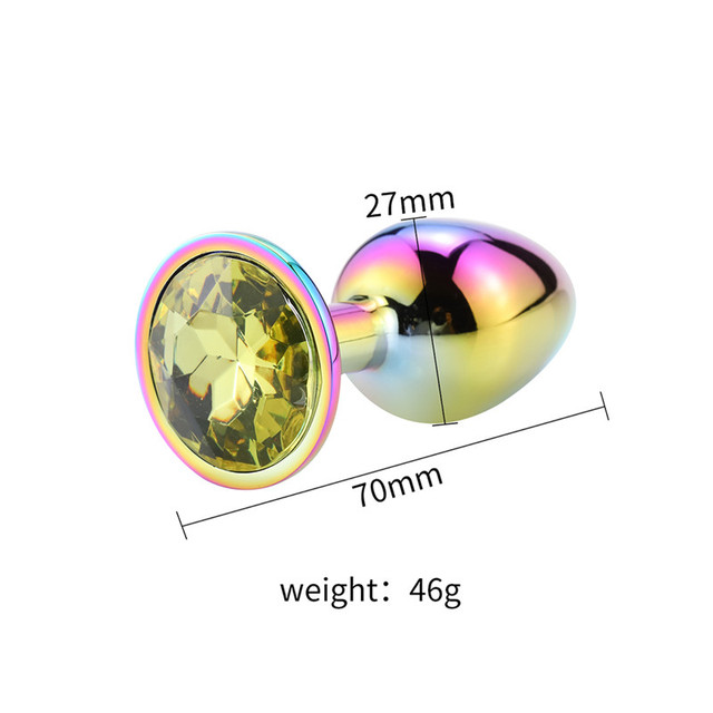 Size Rainbow yellow diamond anal plug