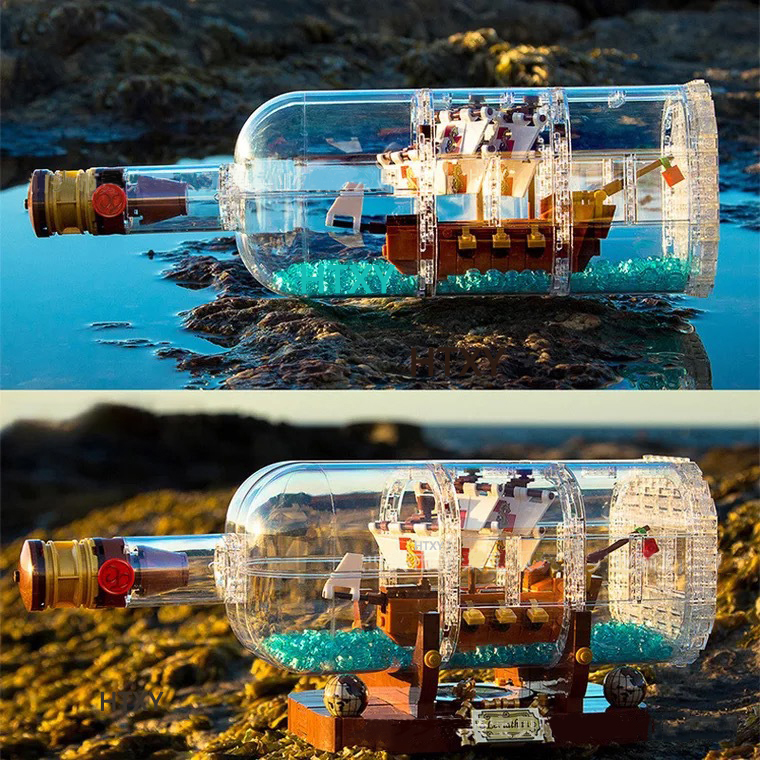 Compatible Legoing Technic citys Idea Ship Boat in a Bottle sets <font><b>16045</b></font> creator Building Blocks Bricks Toys For Children gifts image