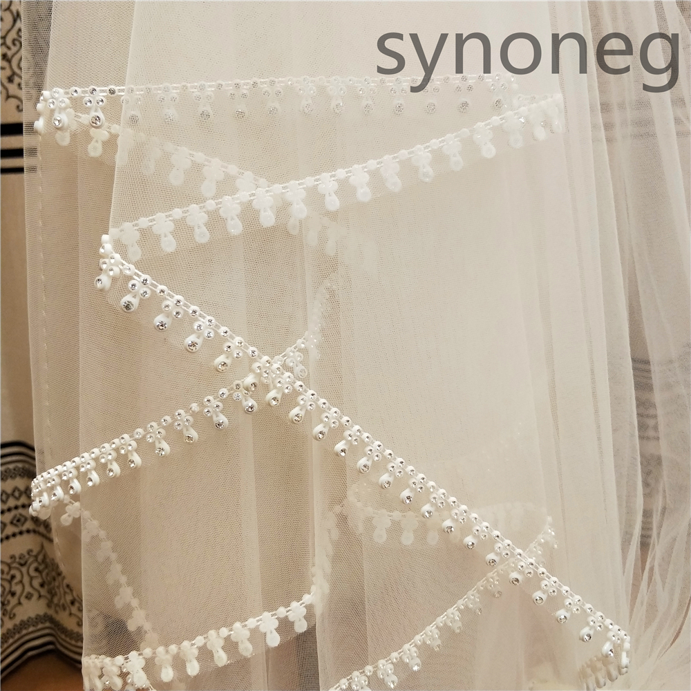 4 Meters Metal Comb White Champagne Ivory Wedding Accessory Cathedral Crystal Edge Wedding Veil Custom Made Length Bridal Veil