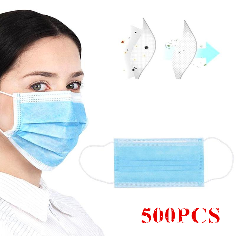 500pcs Disposable Face Mask Non Woven 3 Layer Filter Dustproof Earloop Protective Mask Anti Dust Anti-Pollution Mouth Mask