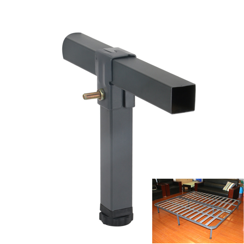 4pc Adjustable Height Clamp Tube Leg Metal Square Bed Riser Table Legs for Tatami Bed Frame Fixed Support Foot Screw Hardware image