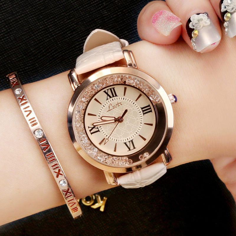 Women Wrist Watch Fashion Ladies Wristwatches Quartz Rhinestone Clock Large Dial Leather Female Watches Grils Hours